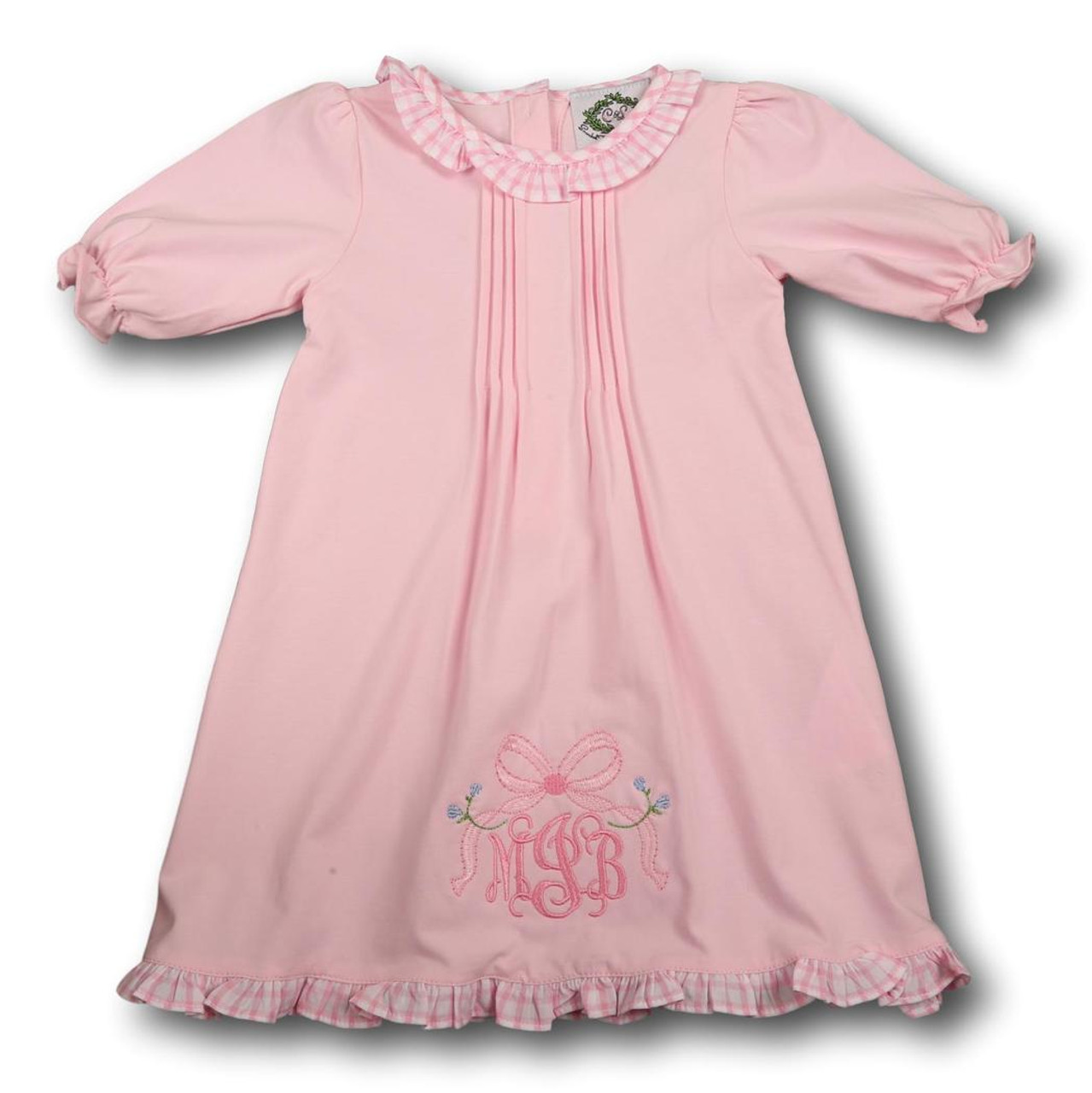 Pink Knit Layette Gown - Smocked Threads by Cecil and Lou