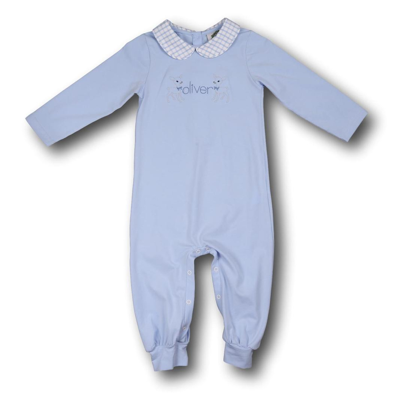 c57639996 Blue Knit Boys Long Romper - Smocked Threads by Cecil and Lou