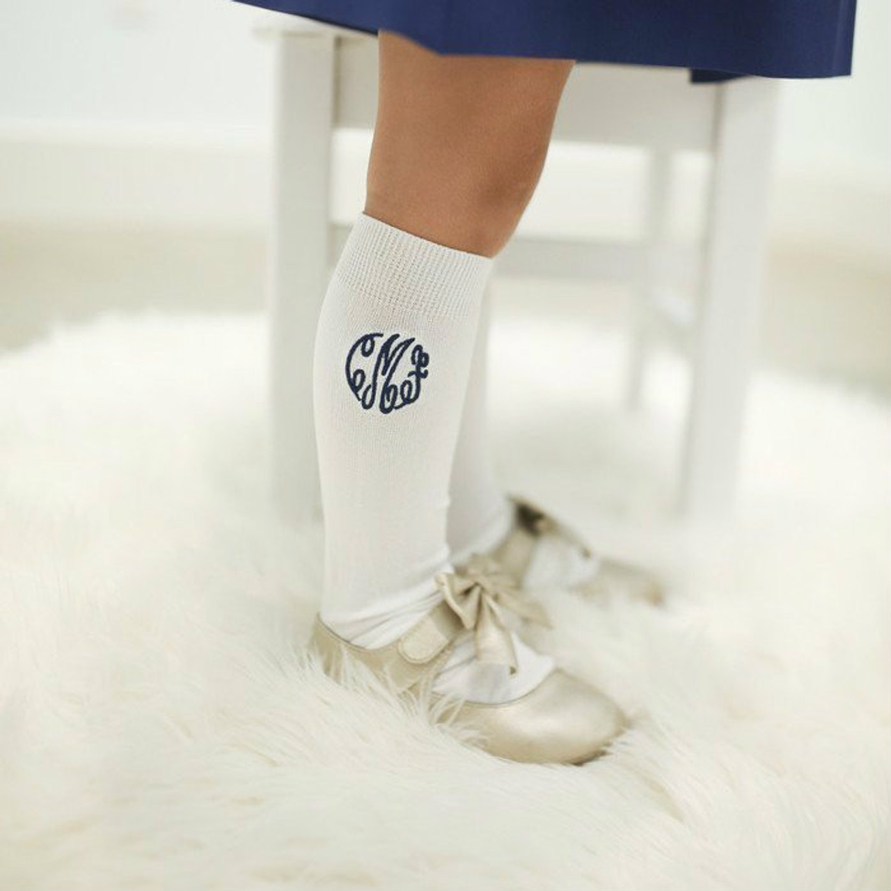 Monogrammed Knee High Socks Smocked Threads By Cecil And Lou