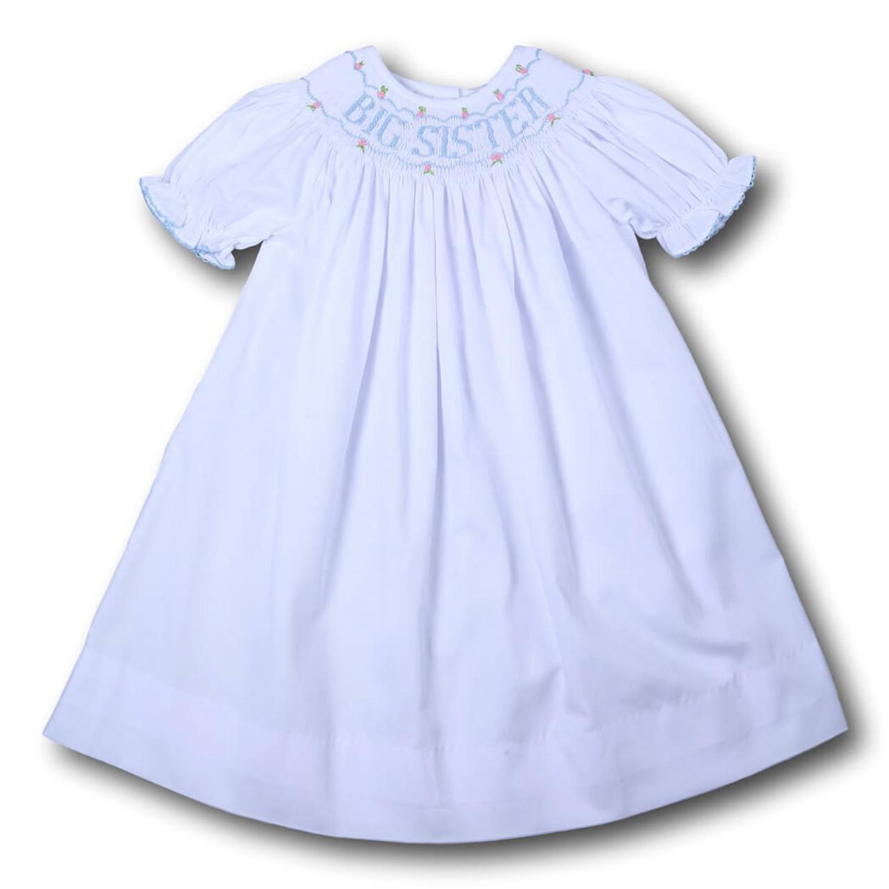 blue smocked  u0026quot big sister u0026quot  bishop dress