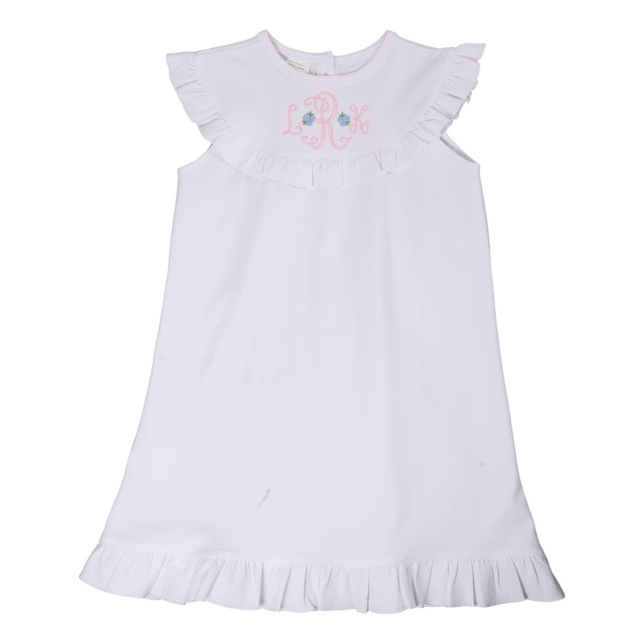 White Knit Ruffle Nightgown - Smocked Threads by Cecil and Lou