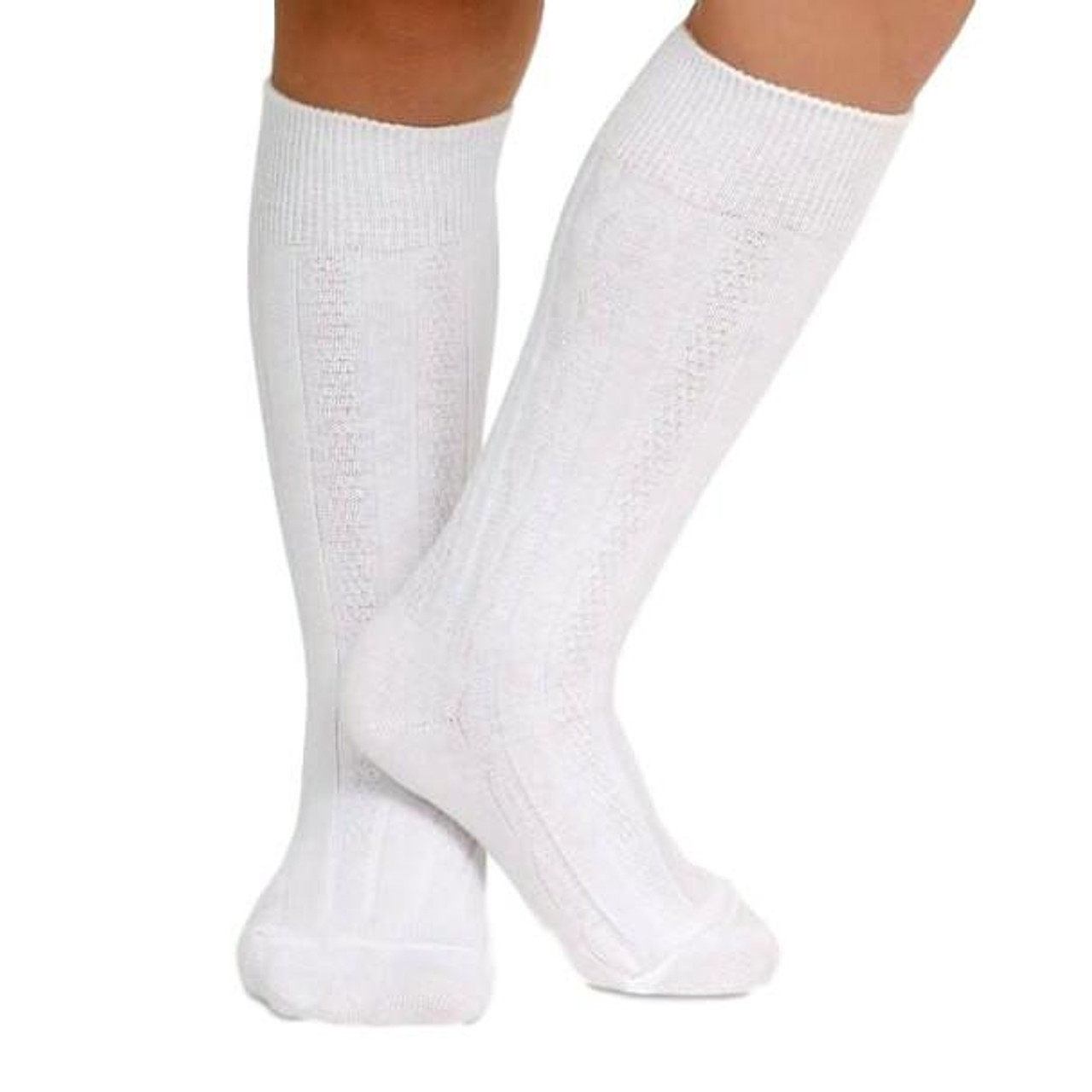 White Cable Knit Knee Socks Cecil And Lou