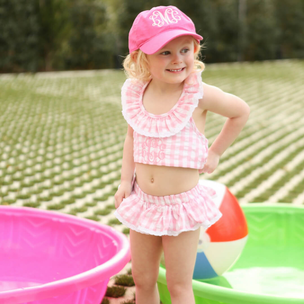 243ac8c3411 Pink Check Seersucker and Eyelet Ruffle Bikini (ISCL524-BIK30-18)
