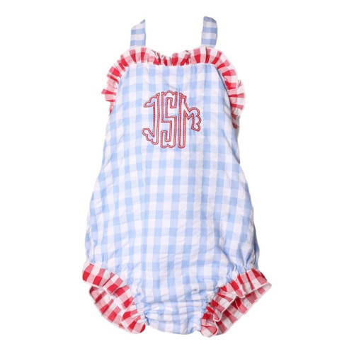 Blue Check Seersucker Swimsuit with Red Check Trim