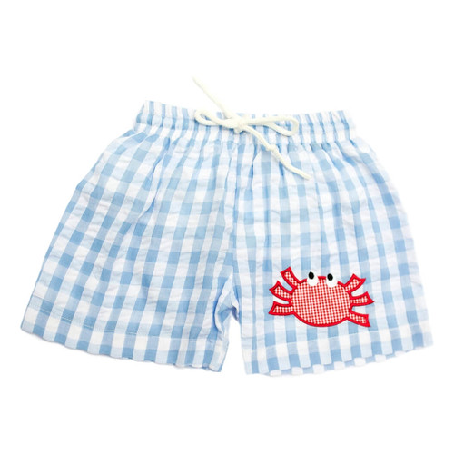 Blue Check Seersucker Crab Swim Trunks