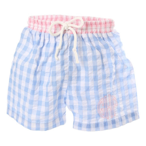 Blue and Pink Check Seersucker Swim Trunks