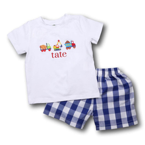 """Navy Check Embroidered """"Diggers"""" Short Set"""