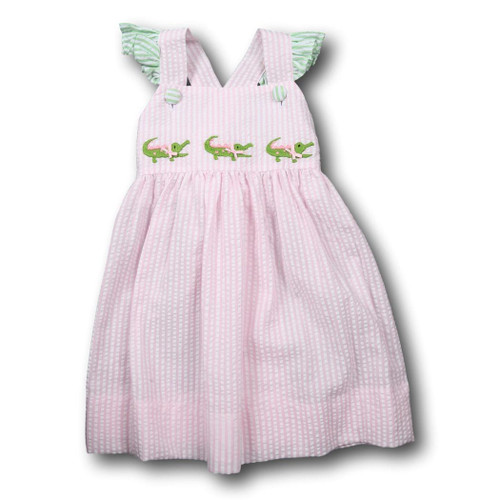 Pink Seersucker Alligator Dress