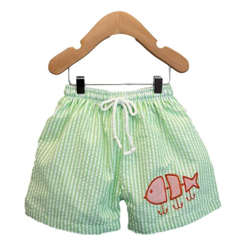 Applique Fishing Lure Swim Trunks