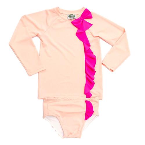 Pink Bow Rash Guard Set