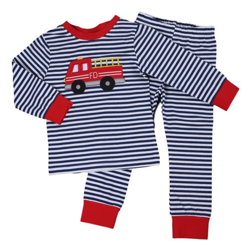 Navy Stripe Knit Firetruck PJ-min by Cecil and Lou - Adorable Kids Clothing