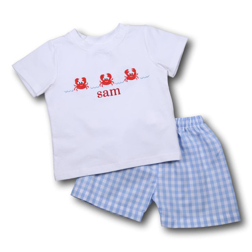 Blue Check Embroidered Crab Short Set