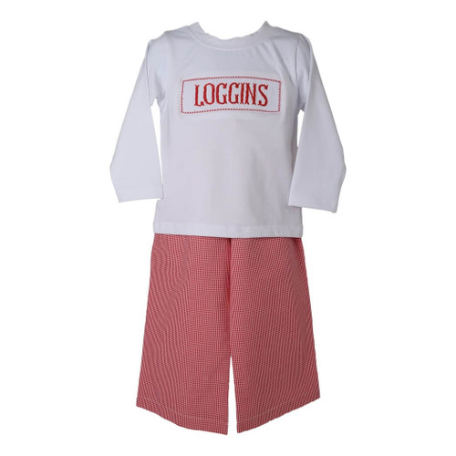 Boys Red Gingham Custom Smocked Pant Set - Boys Arkansas Pant Set - Boys NC State Pant Set - Boys Houston Pant Set