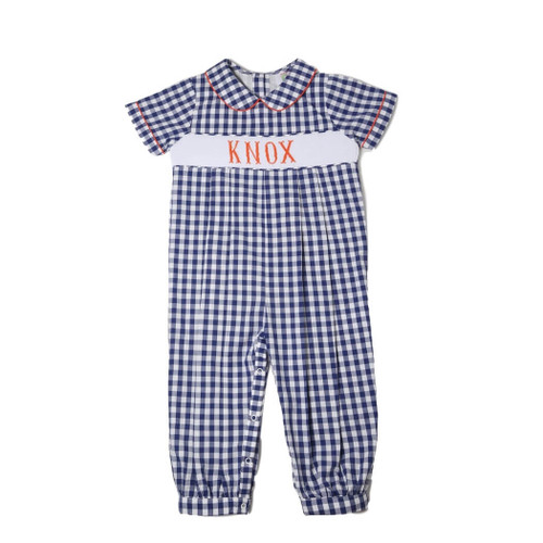 Boys Orange and Navy Check Custom Smocked Romper - Boys Auburn Romper
