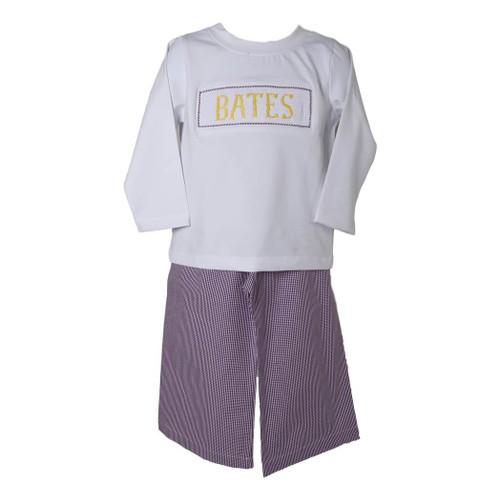Boys Yellow and Purple Gingham Custom Smocked Pant Set - Boys LSU Pant Set - LSU Tigers Pant Set