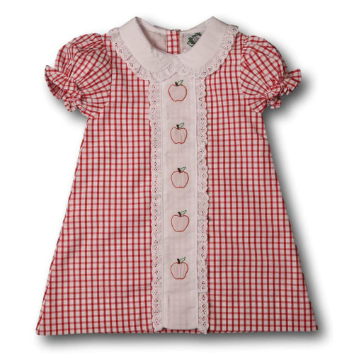Red and White Windowpane Apple Dress (POCL540-D92-18)