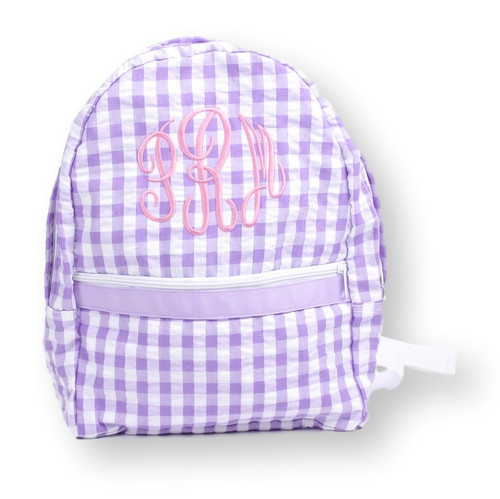 Lavender Check Seersucker Backpack (ISCL-ACC13-18)