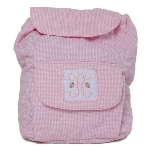 Pink Gingham Quilted Backpack with Insert (POCL-ACC9-18)