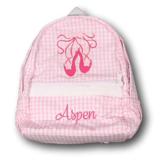 Pink Windowpane Applique Ballet Slipper Backpack (POCL-ACC7-18)