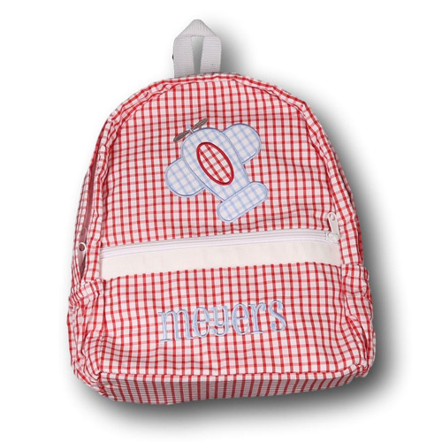 Red Windowpane Applique Airplane Backpack (POCL-ACC5-18)