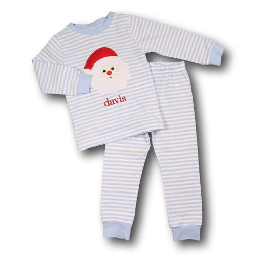 Blue Mini Stripe Applique Santa Pajamas (ISCL541-BLW10-18)