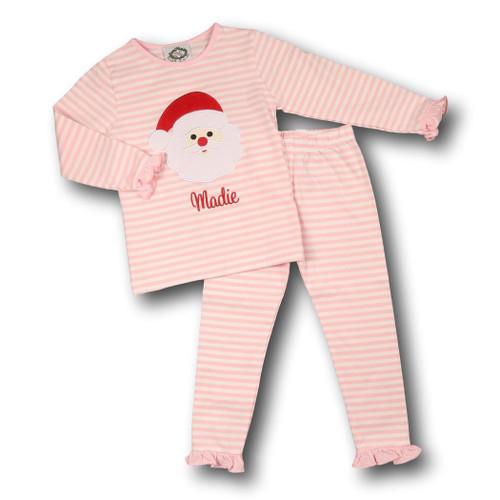 Pink Mini Stripe Applique Santa Pajamas (POCL541-GLW10-18)