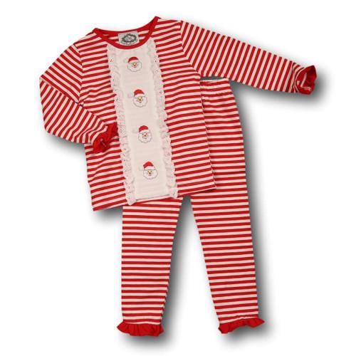 red mini stripe insert santa girls pajamas