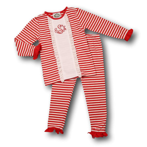 Red Mini Stripe Ruffle Insert Pajamas (ISCL541-GLW1-18)