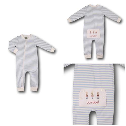 Blue Mini Stripe Toy Soldier Zipper Pajamas (POCL-BLW4-18)