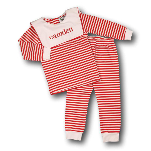 Red Mini Stripe Square Collar Pajamas (POCL541-BLW8-18)