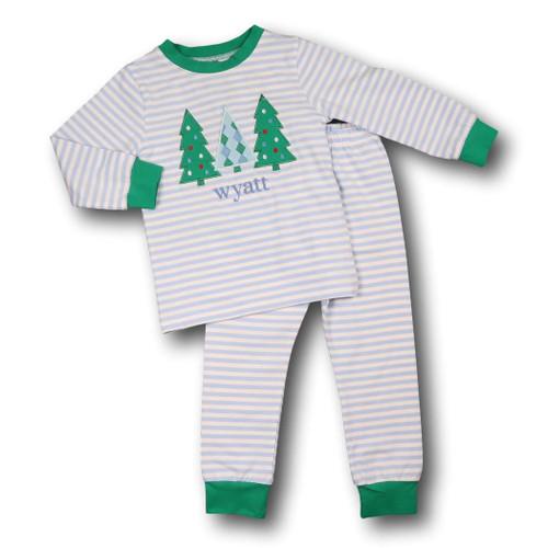 blue mini stripe applique tree pajamas - Girls Christmas Nightgowns
