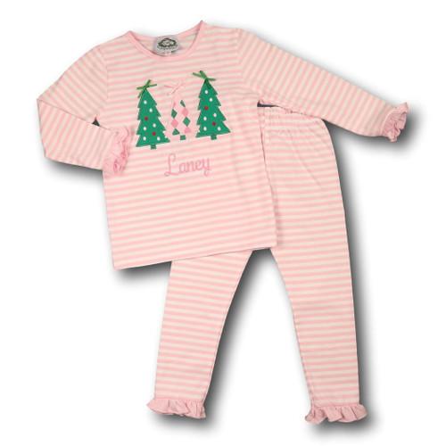 Pink Mini Stripe Applique Tree Pajamas (ISCL541-GLW9-18)