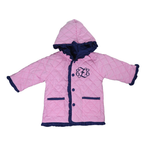 Pink and Navy Cord Quilted Coat