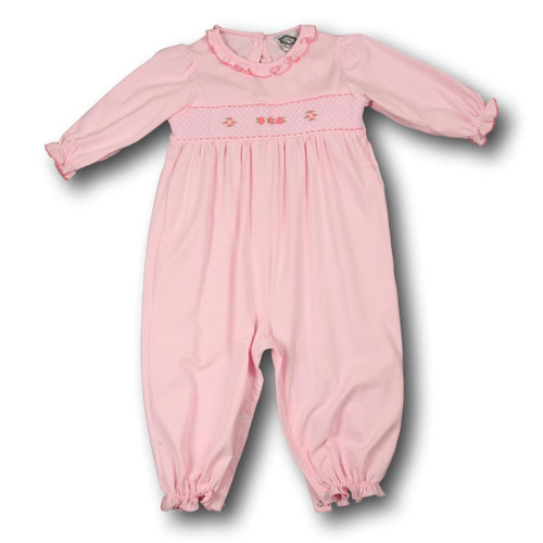 Pink Knit Smocked Geometric Long Bubble (POCL547-LB4-18)