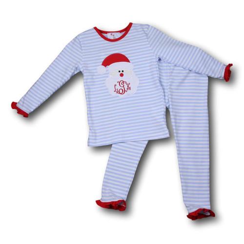 Mini Stripe Knit Santa Girls PJ (POCL543-GLW24-18)