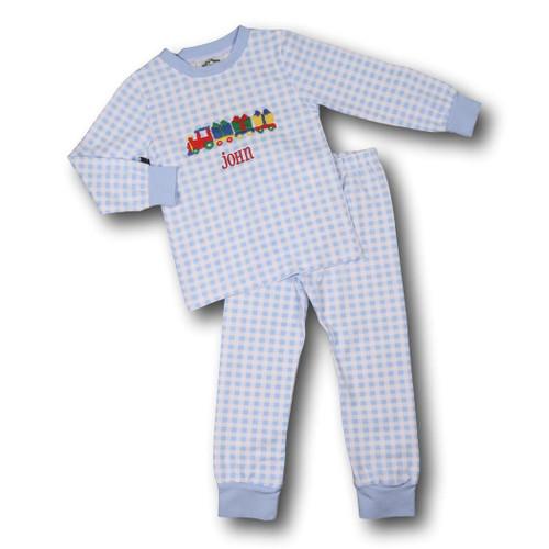 Blue Check Knit Holiday Train Pajamas (POCL547-BLW31-18)