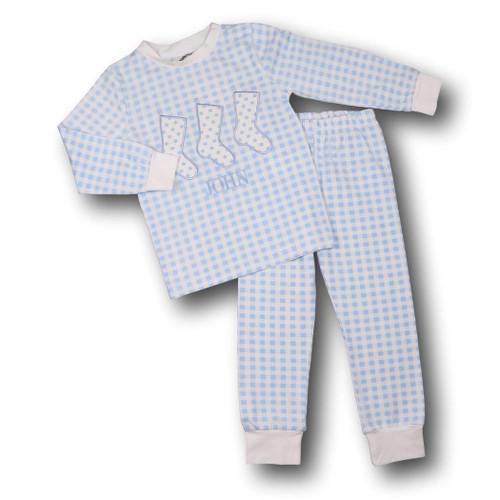 Blue Check Applique Stockings PJs (POCL545-BLW43-18)