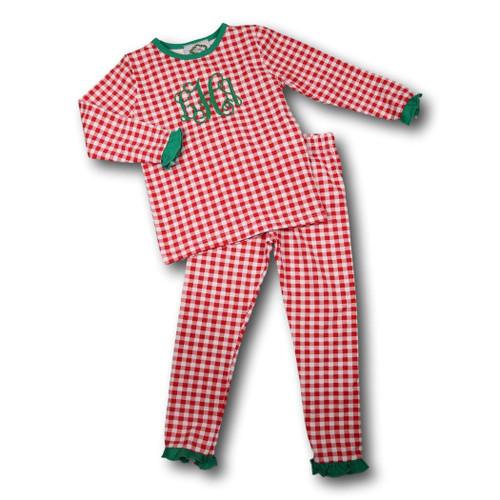 Girls Red Check Knit PJ Set with Green Trim (POCL548-GLW35-18)