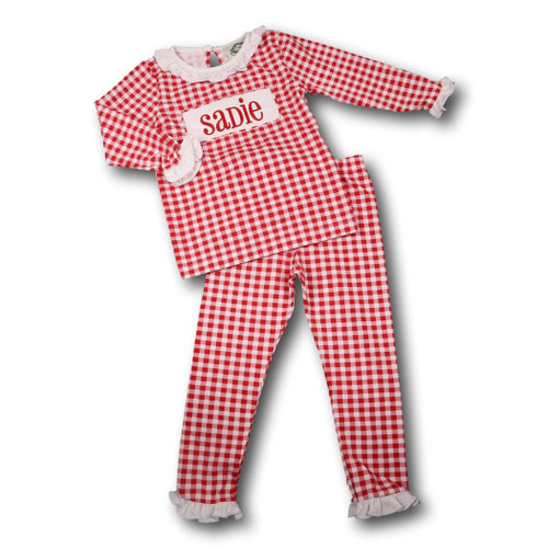 Girls Red Check Knit Insert PJ Set (POCL548-GLW34-18)