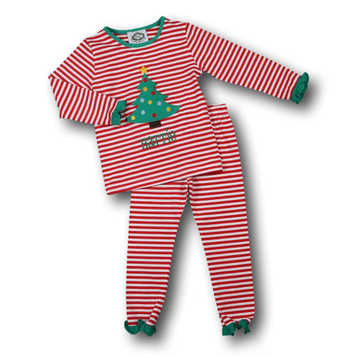 Red Stripe Christmas Tree Pajamas