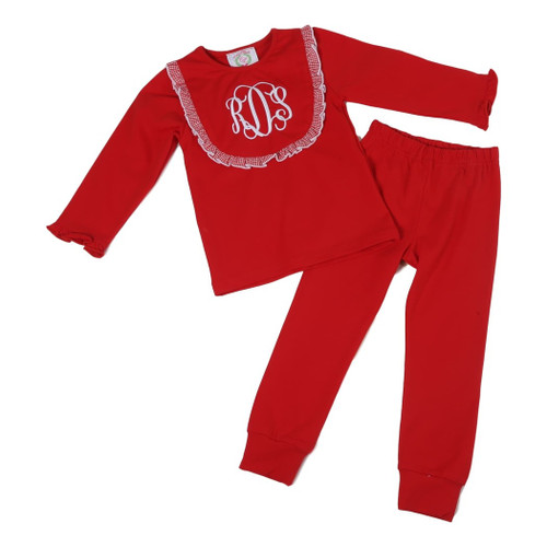 Red Knit Bib PJ Set (ISCL542-GLW15-18)