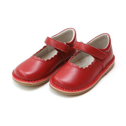 L'Amour Red Scalloped Stitch Down Mary Jane Shoes (ISCL-488RD-18)