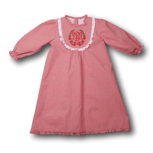 Red Gingham Bib Collar Gown