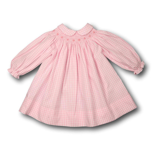 Pink Windowpane Smocked A-Line Dress with Collar (ISCL-BIS172-18)