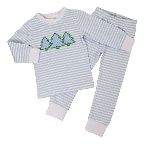 Light Blue Mini Stripe Knit Applique Tree Pajamas (ISCL541-BLW24-18)