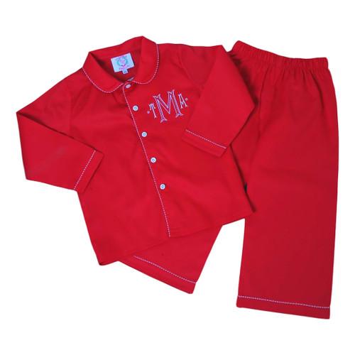 Red Pique Pajama Set (POCL542-BLW19-18)