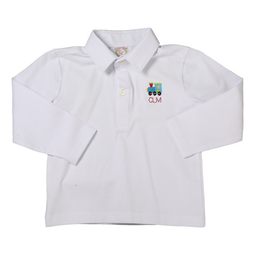 White Knit Embroidered Train Polo