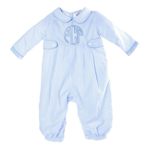 Blue Gingham Long Romper with Tabs by Cecil and Lou