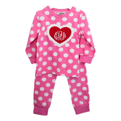 pink polka dot heart pajamas by cecil and lou childrens valentines clothing