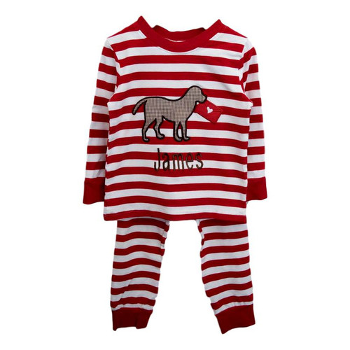 red knit lab love letter pajamas by cecil and lou childrens valentines clothing